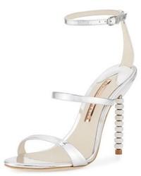 Sophia Webster Rosalind Crystal Heel Leather Sandal Silver