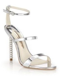 Sophia Webster Rosalind Crystal Heel Metallic Leather Sandals