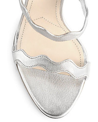 82d75f20cdaf2 Prada Scalloped Metallic Leather Sandals, $830 | Saks Fifth Avenue ...