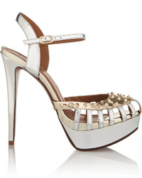 Schutz Studded Metallic Patent Leather Sandals