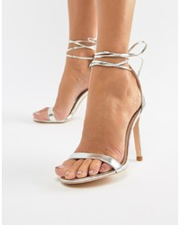 Glamorous Silver Ankle Tie Heeled Sandals