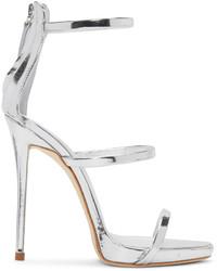 Giuseppe Zanotti Silver Colline Heeled Sandals