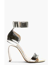 Nicholas Kirkwood Silver Leather Horn Heel Sandals