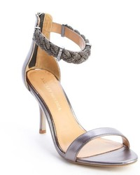 Badgley Mischka Silver Leather Rope And Crystal Detail Heel Hawthorne Sandals