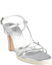 Tod's Silver Leather T Strap Stacked Heel Sophie Stripes Sandals