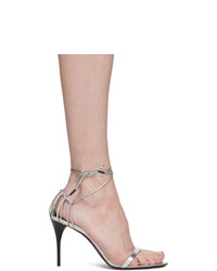 Saint Laurent Silver Lexi 90 Heeled Sandals