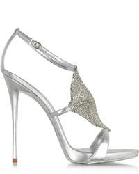 Giuseppe Zanotti Silver Metallic Leather And Crystal Sandal