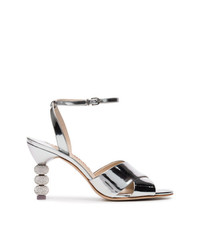 Sophia Webster Silver Natalia Crystal 85 Leather Sandals