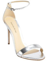 Alexandre Birman Silver Snake Embossed Leather Ornella Heel Sandals