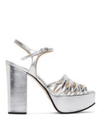 Marc Jacobs Silver The Glam Heeled Sandals