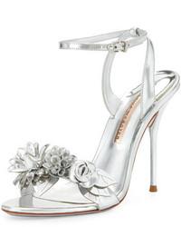 Sophia Webster Lilico Floral Leather 105mm Sandal Silver