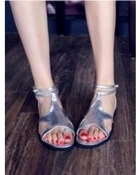 Choies Star Flat Sandals In Silver