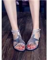 Choies Star Flat Sandals In Silver