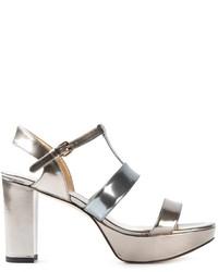 Stuart Weitzman Chunky Heel Metallic Sandals