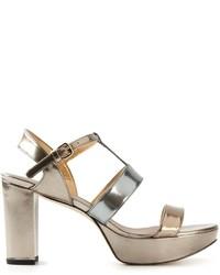 Stuart Weitzman Metallic Chunky Heel Sandals