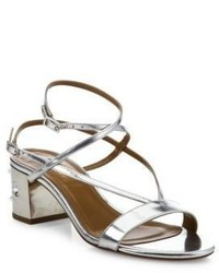 Aquazzura Sunset Siren Metallic Leather Block Heel Sandals