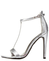 Charlotte Russe Textured Metallic T Strap High Heels