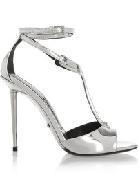 Tom Ford Metallic Leather T Bar Sandals Silver