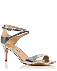 Via Spiga Leesa Metallic Patent Leather Ankle Strap Mid Heel Sandals