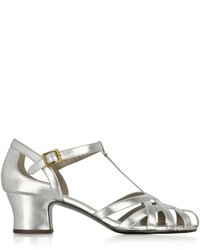 Marc Jacobs Woven Laminated Leather Mid Heel Sandal