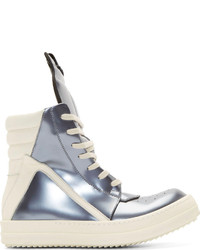 Silver Leather High Top Sneakers