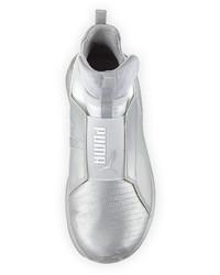 41089b336418 ... Puma Fierce Lizard Embossed High Top Sneaker Silver