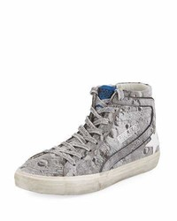 Golden Goose Deluxe Brand Golden Goose Slide Distressed Glitter High Top Sneaker