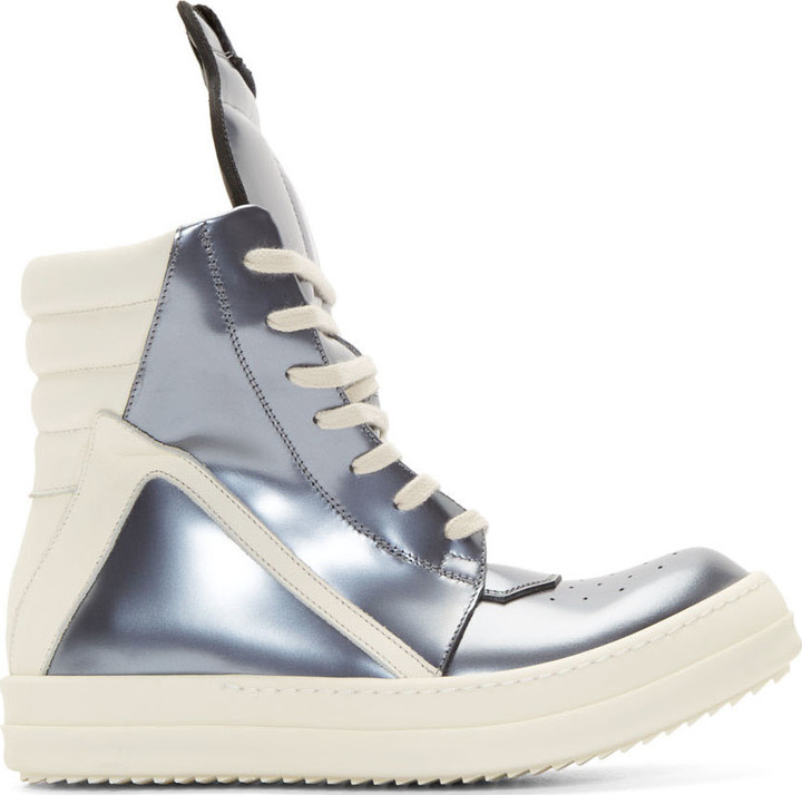 separation shoes acb38 65be8 $1,655, Rick Owens Silver Leather Geobasket High Top Sneakers