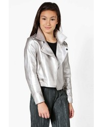 Boohoo Girls Faux Leather Metallic Silver Biker Jacket