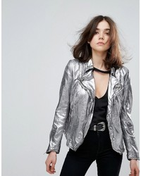 Muubaa monteria metallic leather jacket medium 3764813