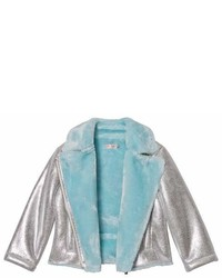 Billieblush Silver Metalic Biker Jacket With Blue Faux Fur Lining