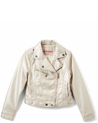Urban Republic Silver Metallic Faux Leather Moto Jacket Infant Toddler