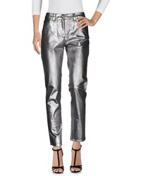 Silver Leather Jeans