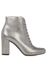 Silver Leather Lace-up Ankle Boots