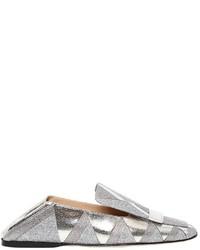 Sergio Rossi 10mm Glitter Metallic Leather Loafers