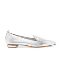 Nicholas Kirkwood Beya Metallic Textured Leather Point Toe Flats