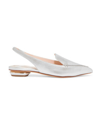 Nicholas Kirkwood Beya Metallic Textured Leather Slingback Point Toe Flats