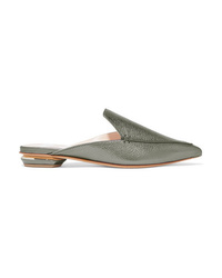 Nicholas Kirkwood Beya Metallic Textured Leather Slippers