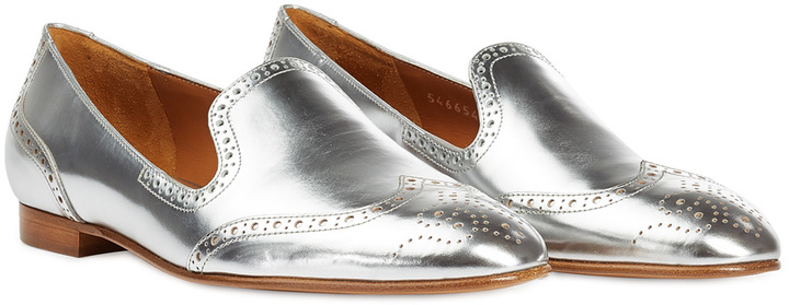 42f313aec ... Ralph Lauren Collection Metallic Leather Loafers With Broguing ...