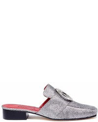 Dorateymur Petrol Oversized Ring Glitter Lurex Slide Loafers