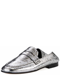 Isabel Marant Fezzy Crackled Metallic Loafer Mule