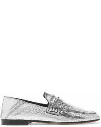 Isabel Marant Fezzy Metallic Cracked Leather Collapsible Heel Loafers Silver
