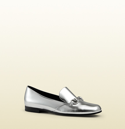 02f0a554735 ... Silver Leather Loafers Gucci Metallic Leather Horsebit Loafer ...