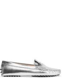 Metallic leather loafers silver medium 5172687
