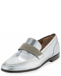 Brunello Cucinelli Monili Beaded Metallic Leather Loafer