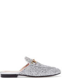 Gucci Princetown Horsebit Detailed Glittered Leather Slippers Silver