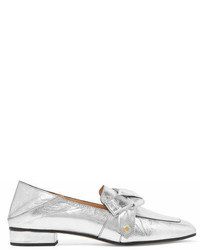 Chloé Quincey Collapsible Heel Metallic Leather Loafers Silver