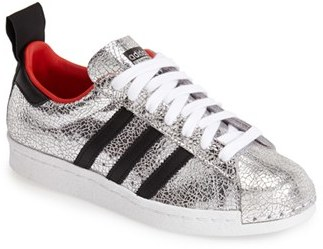 reputable site f57fd 5fa70 ... Silver Leather Low Top Sneakers Topshop For Adidas Originals 80s  Premium Superstar Sneaker ...