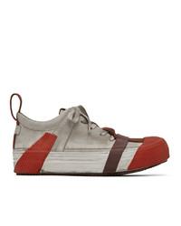 Boris Bidjan Saberi Grey And Red Bamba2 Sneakers