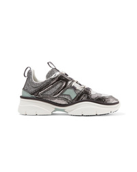 Isabel Marant Kindsay Metallic Glittered And Smooth Leather Sneakers